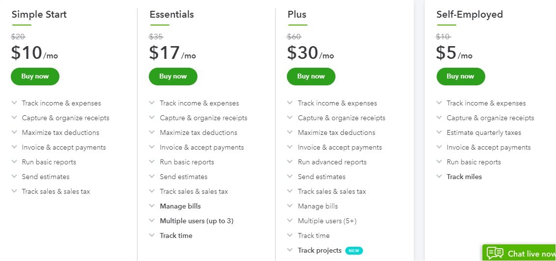 QuickBooks Pricing and Plans