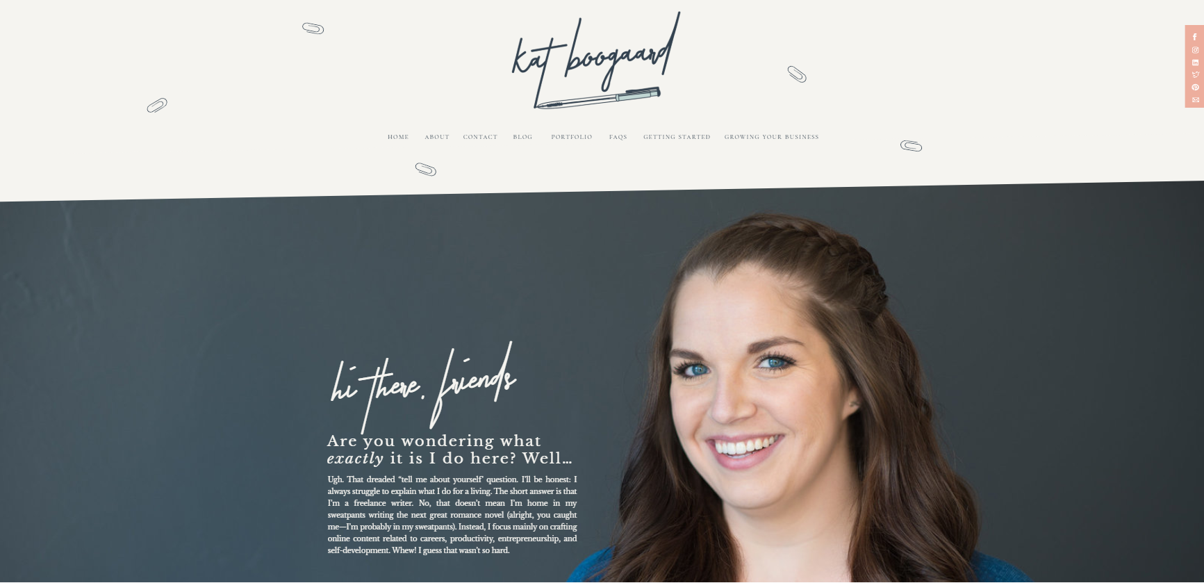 kat boogaard freelance writer website example