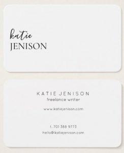 Katie Jenison Freelance Writer Business Card