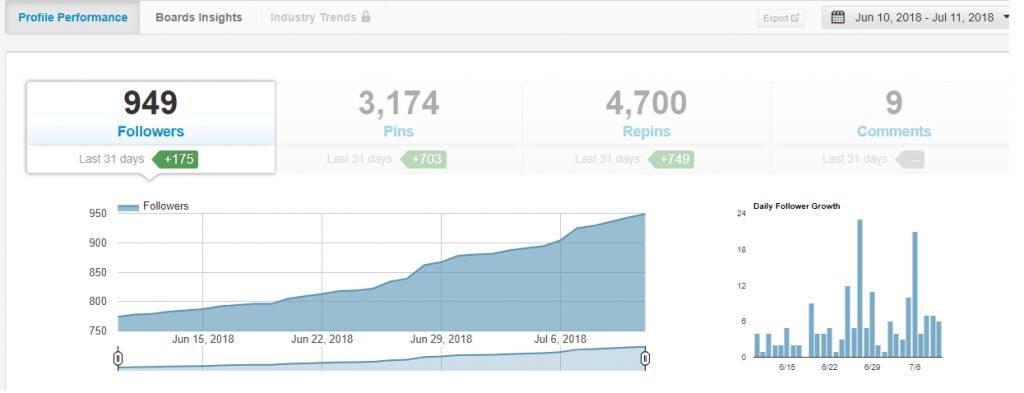 The Quiet Type Pinterest Follower Growth