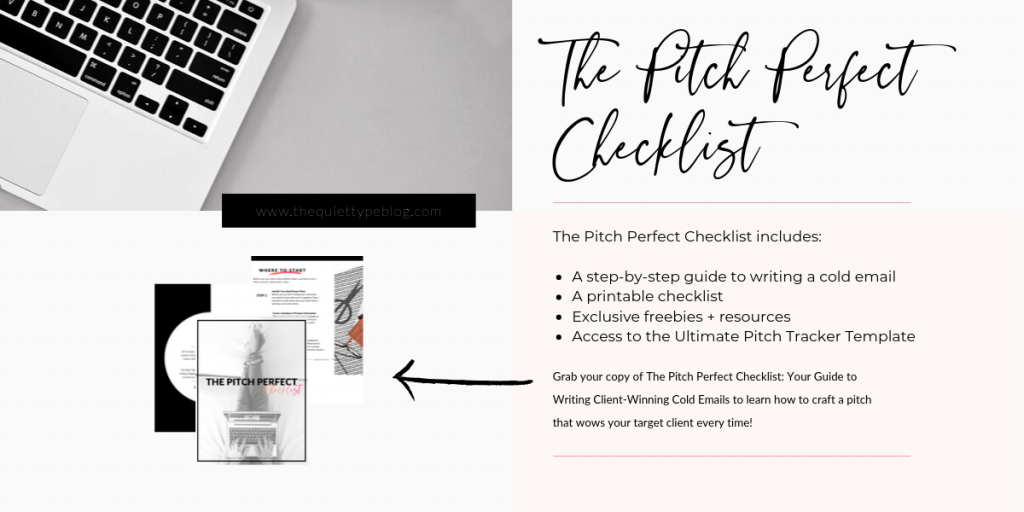 Grab your copy of the Pitch Perfect Checklist + Pitch Tracking Spreadsheet and start winning freelance clients today!