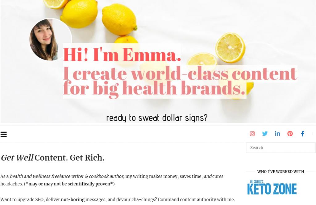 emmawritenow freelance writing website